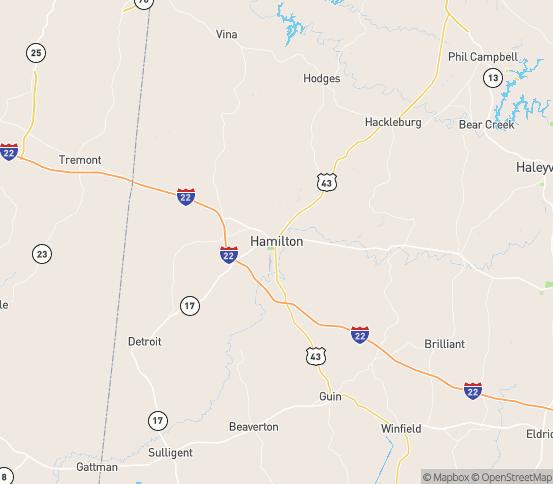 Map of Hamilton, AL