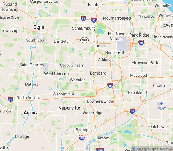 Map of Glen Ellyn, IL
