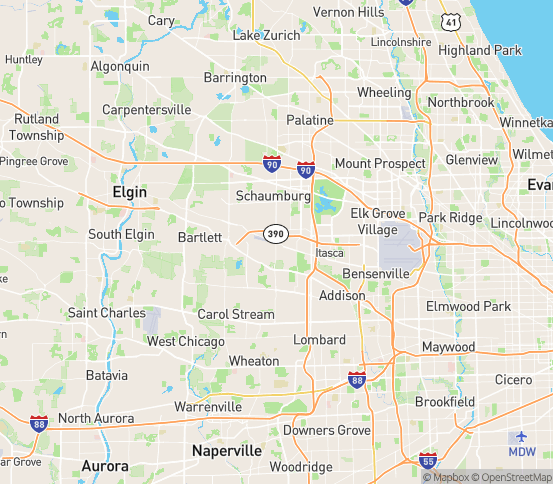 Map of Roselle, IL