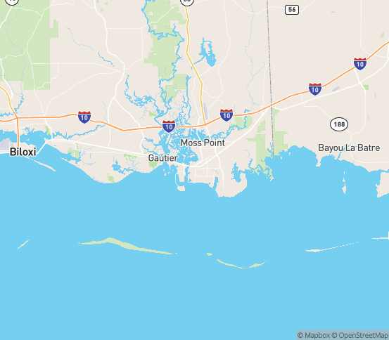 Map of Pascagoula, MS