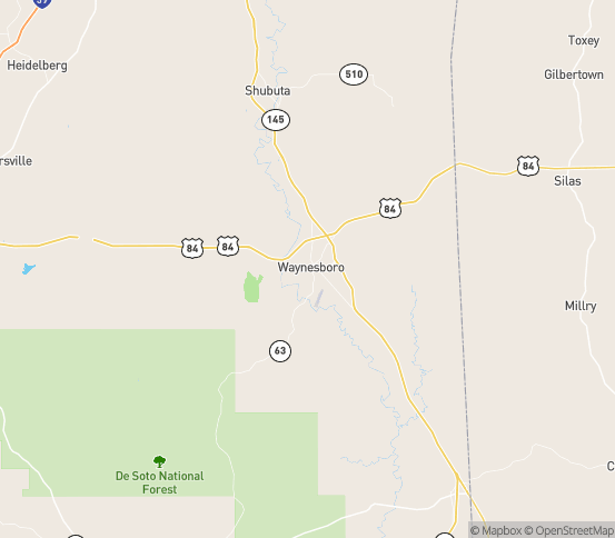 Map of Waynesboro, MS