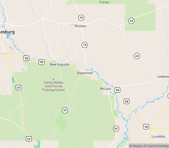 Map of Mc Lain, MS
