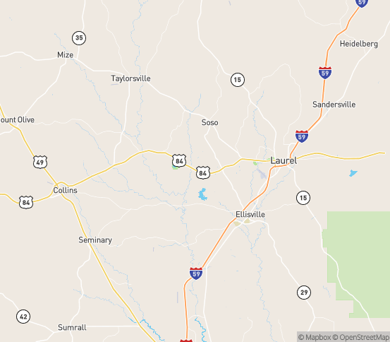 Map of Soso, MS