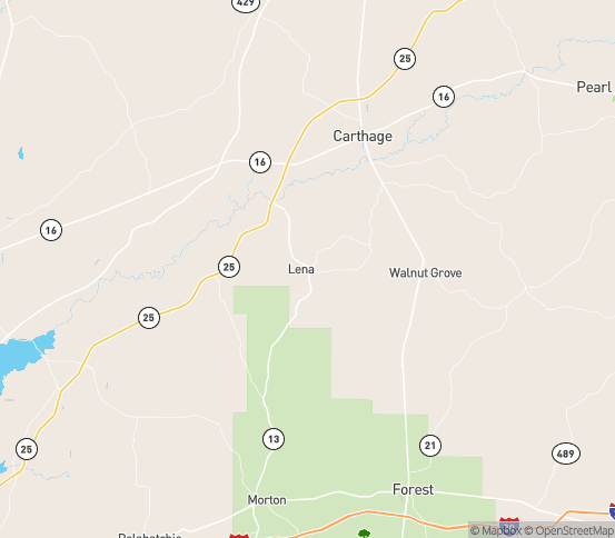Map of Lena, MS