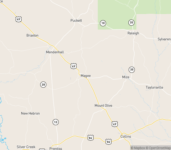 Map of Magee, MS