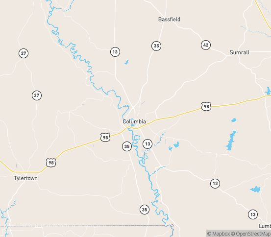 Map of Columbia, MS