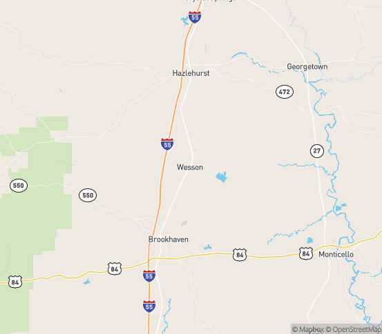 Map of Wesson, MS