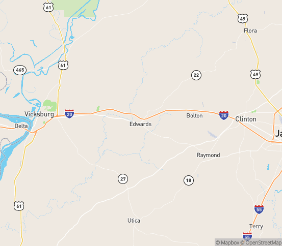 Map of Edwards, MS
