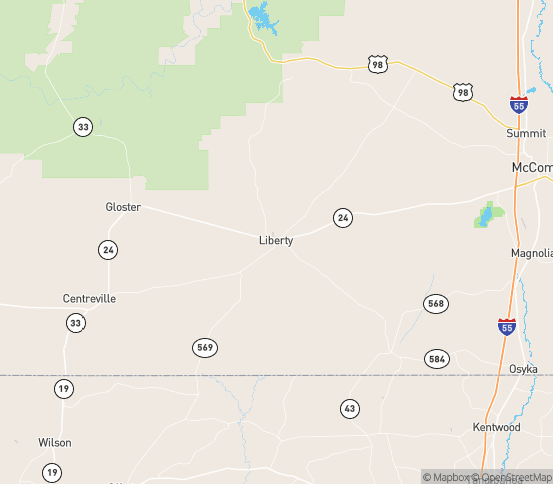 Map of Liberty, MS