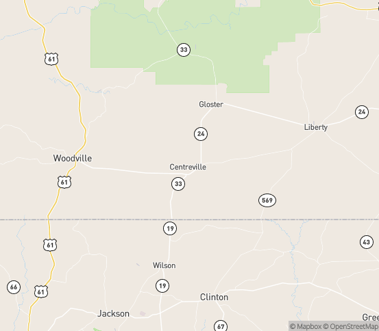 Map of Centreville, MS