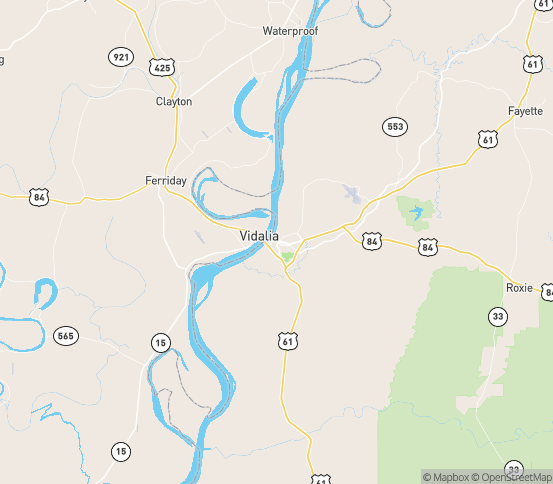 Map of Natchez, MS