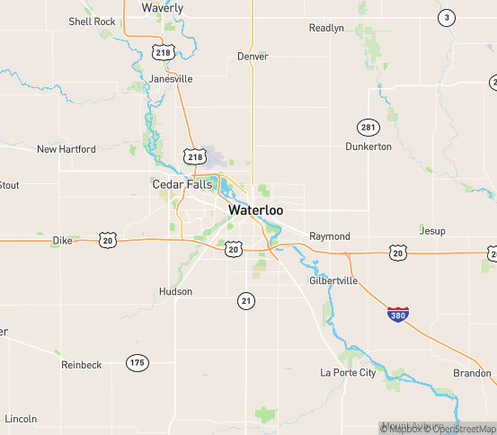 Map of Waterloo, IA