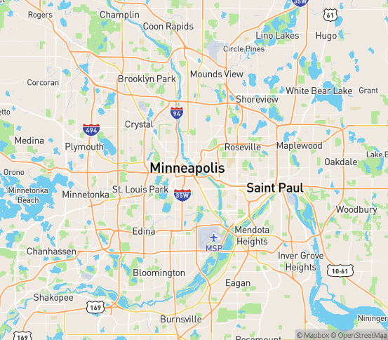 Map of Minneapolis, MN