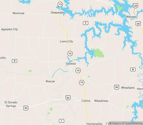Map of Osceola, MO