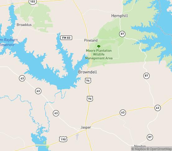 Map of Brookeland, TX
