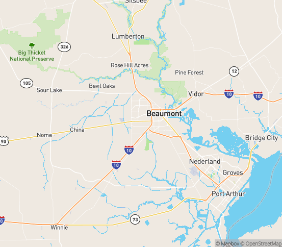 Map of Beaumont, TX