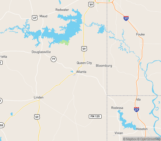Map of Atlanta, TX