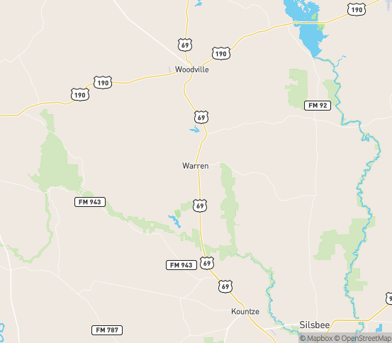Map of Warren, TX