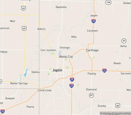 Map of Webb City, MO