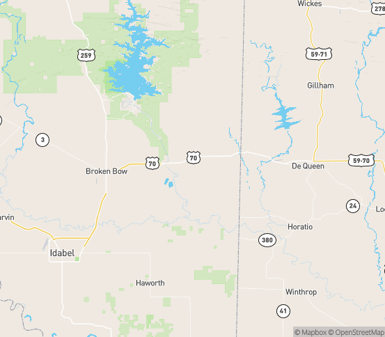 Map of Eagletown, OK
