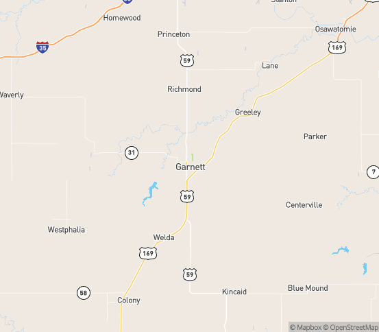 Map of Garnett, KS