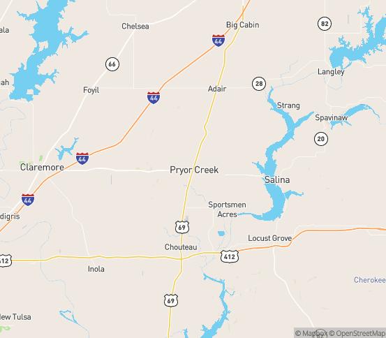 Map of Pryor, OK