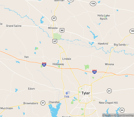 Map of Lindale, TX