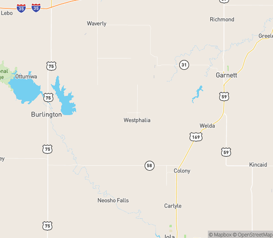 Map of Westphalia, KS