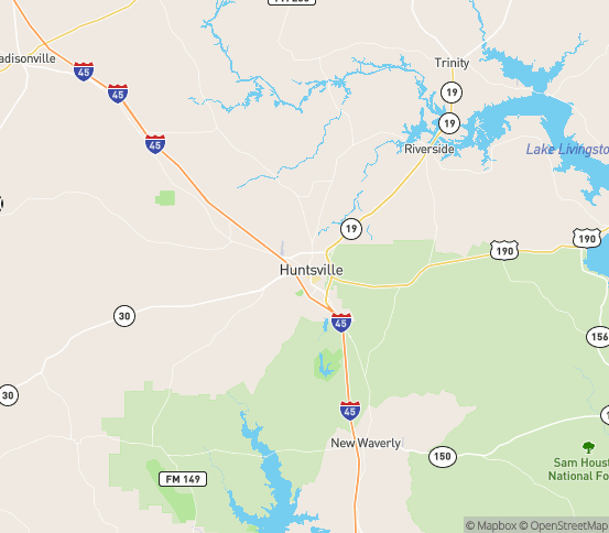 Map of Huntsville, TX
