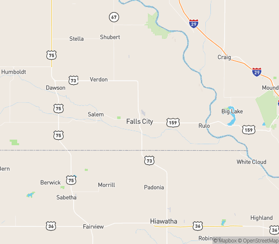 Map of Falls City, NE