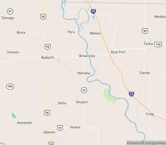 Map of Nemaha, NE