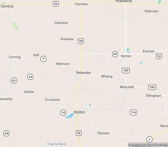 Map of Netawaka, KS
