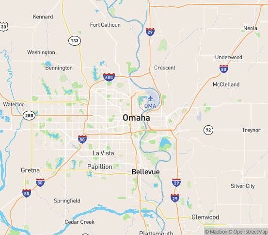 Map of Omaha, NE