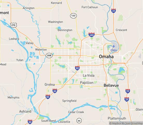 Map of Omaha, NE