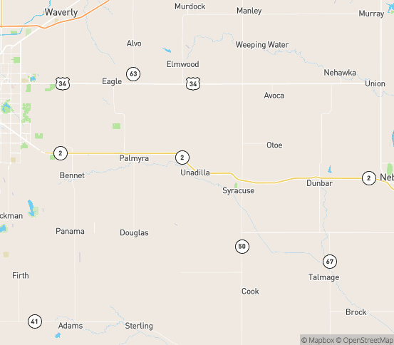 Map of Unadilla, NE