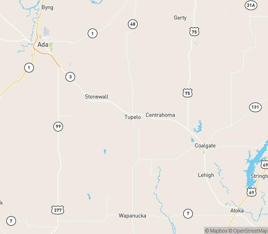 Map of Tupelo, OK