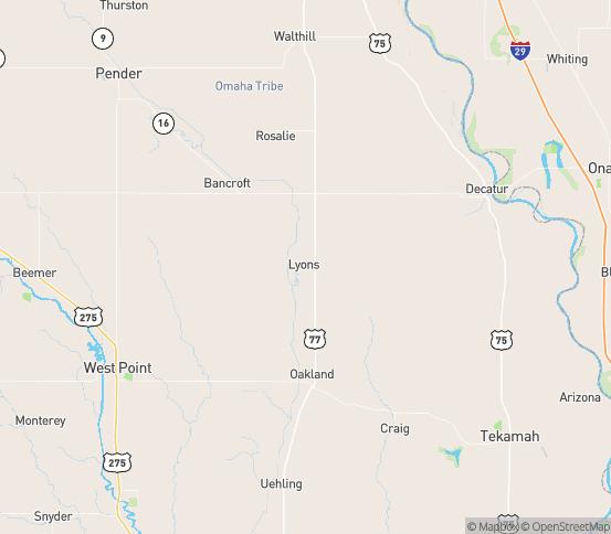 Map of Lyons, NE