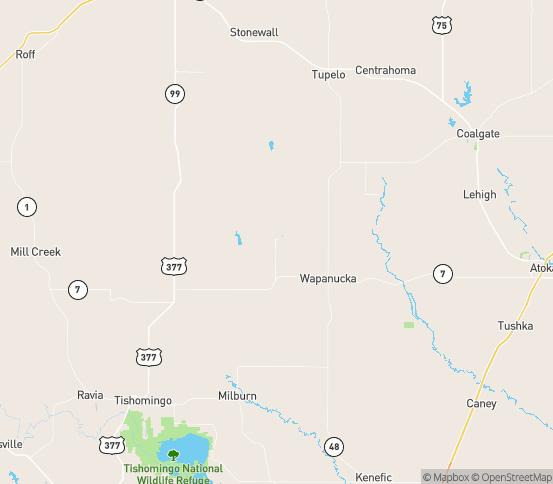 Map of Wapanucka, OK