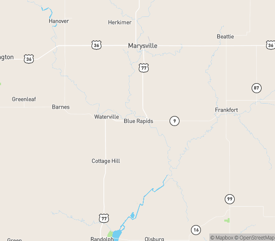 Map of Blue Rapids, KS
