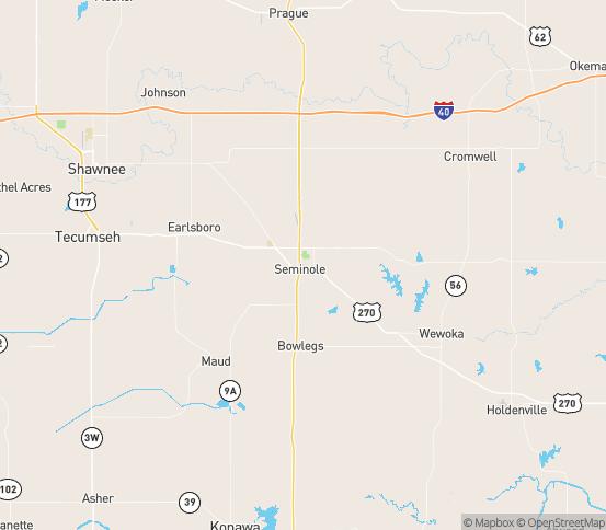 Map of Seminole, OK