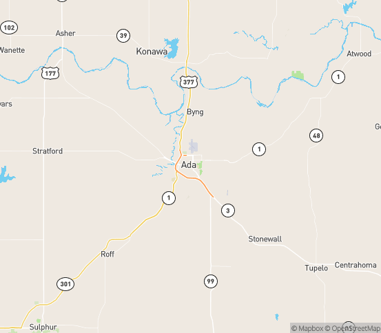 Map of Ada, OK