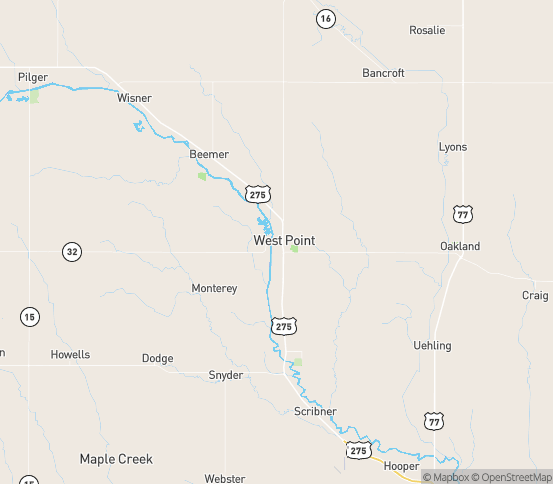 Map of West Point, NE