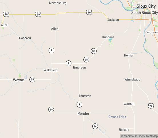 Map of Emerson, NE