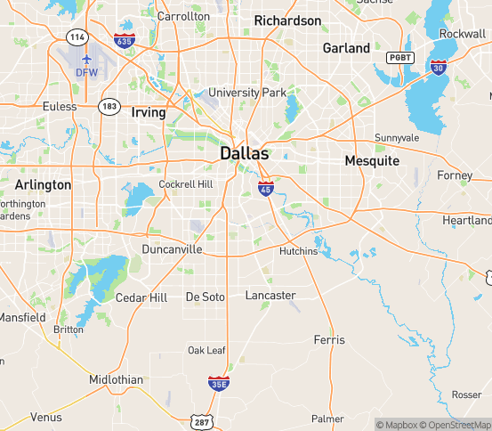 Map of Dallas, TX