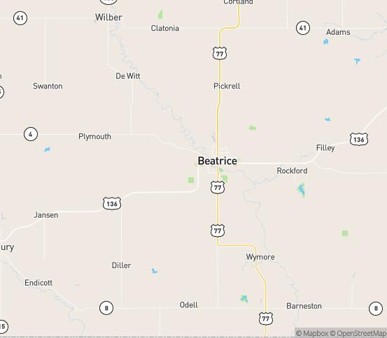 Map of Beatrice, NE