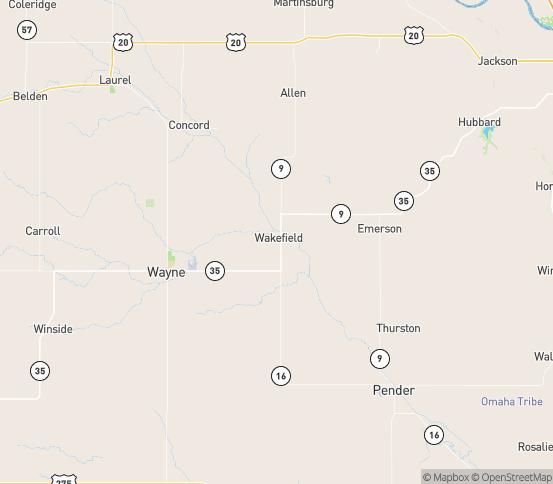 Map of Wakefield, NE