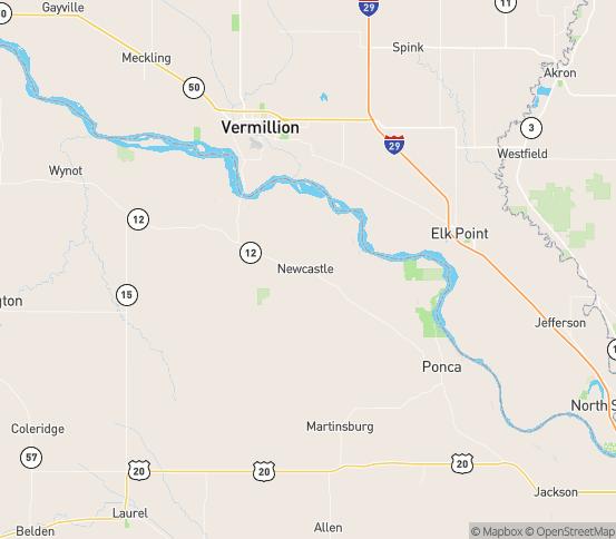 Map of Newcastle, NE