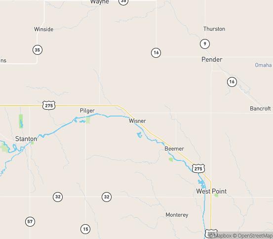 Map of Wisner, NE