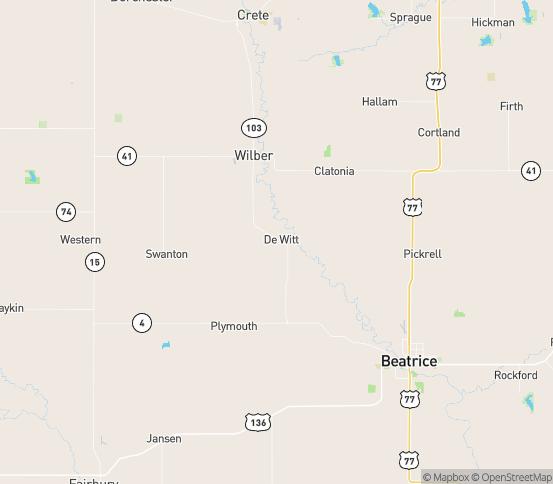 Map of De Witt, NE