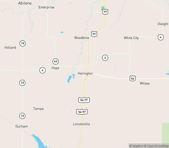 Map of Herington, KS